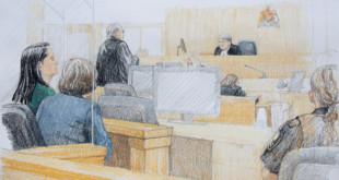 Huawei CFO Meng Wanzhou (L), who was arrested on an extradition warrant, appears at her B.C. Supreme Court bail hearing in a drawing in Vancouver, British Columbia, Canada December 7, 2018.  REUTERS/Jane Wolsak   MANDATORY CREDIT. NO RESALES. NO ARCHIVES
